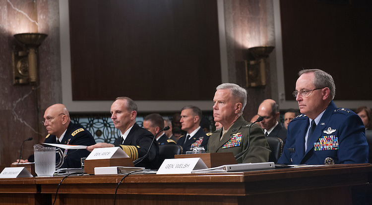 UNITED STATES - Nov 7: (L-R) Army Chief of Staff Gen. Raymond Odierno; Chief of Naval Operations Adm. Jonathan Greenert; Commandant of the Marine Corps Gen. James Amos; and Chief of Staff of the Air Force Gen. Mark Welsh III, testify before the Senate Armed Services Committee November 7, 2013 in Washington, DC. The committee heard testimony on 'The Impact of Sequestration on the National Defense. (Photo By Douglas Graham/CQ Roll Call)