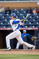 Zack Kone (2) of the Duke Blue Devils follows through on his swing against the California Golden Bears at Durham Bulls Athletic Park on February 20, 2016 in Durham, North Carolina.  The Blue Devils defeated the Golden Bears 6-5 in 10 innings.  (Brian Westerholt/Four Seam Images)