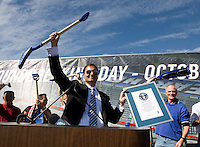 Earthquakes club President Dave Kaval celebrates in front of the audience after receiving world record award during Groundbreaking Ceremony at new stadium in Santa Clara, California on October 21st, 2012.  San Jose Earthquakes broke Guinness World Record for 6,256 people break ground on Quakes' new stadium.