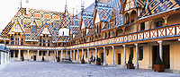 hospices de beaune, hotel dieu court yard beaune cote de beaune burgundy france