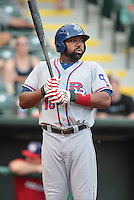 Joey Butler (16) of the Round Rock Express on deck during the Pacific Coast League game against the Oklahoma City RedHawks at Chickashaw Bricktown Ballpark on June 14, 2013 in Oklahoma City ,Oklahoma.  (William Purnell/Four Seam Images)