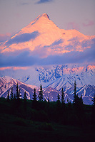 Sunset on mt Brooks, Alaska mountain range, Denali National Park, Alaska