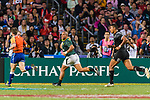 Zain Davids of South Africa (C) runs with the ball during the HSBC Hong Kong Sevens 2018 Bronze Medal Final match between South Africa and New Zealand on 08 April 2018 in Hong Kong, Hong Kong. Photo by Marcio Rodrigo Machado / Power Sport Images
