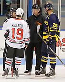 Wade MacLeod (Northeastern - 19), Robert Ritchie, Kevin Keenan, Adam Ross (Merrimack - 26) - The visiting Merrimack College Warriors defeated the Northeastern University Huskies 4-3 (OT) on Friday, February 4, 2011, at Matthews Arena in Boston, Massachusetts.