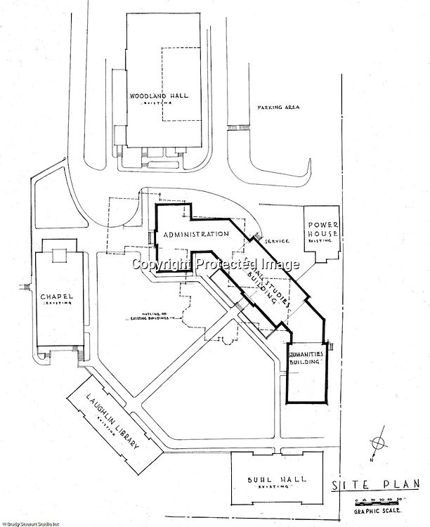 Pittsburgh PA:  An Ingham, Boyd and Pratt drawing of the site plan for the Pennsylvania College for Women's new campus.  Ingham, Boyd and Pratt Architect's various designs were submitted from 1948 through 1952 with construction starting in 1953. Pennsylvania College for Women was renamed Chatham College in 1955.