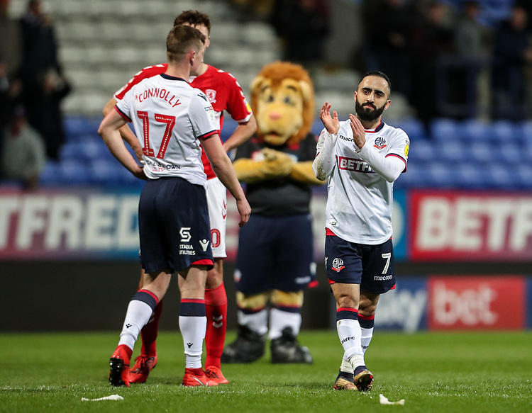 Bolton Wanderers' Erhun Oztumer applauds his side's supporters at the end of the match  <br /> <br /> Photographer Andrew Kearns/CameraSport<br /> <br /> The EFL Sky Bet Championship - Bolton Wanderers v Middlesbrough -Tuesday 9th April 2019 - University of Bolton Stadium - Bolton<br /> <br /> World Copyright © 2019 CameraSport. All rights reserved. 43 Linden Ave. Countesthorpe. Leicester. England. LE8 5PG - Tel: +44 (0) 116 277 4147 - admin@camerasport.com - www.camerasport.com