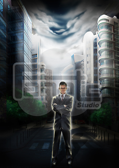 Illustrative image of confident businessman with buildings in the background representing business leader and real estate