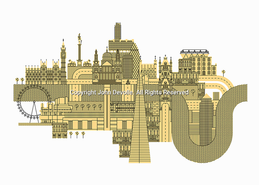Illustration of lots of famous buildings in London