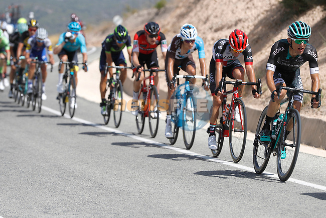 The 21 man breakaway group including Rafal Majka (POL) Bora-Hansgrohe in action during Stage 8 of the 2017 La Vuelta, running 199.5km from Hell&iacute;n to Xorret de Cat&iacute;. Costa Blanca Interior, Spain. 26th August 2017.<br /> Picture: Unipublic/&copy;photogomezsport | Cyclefile<br /> <br /> <br /> All photos usage must carry mandatory copyright credit (&copy; Cyclefile | Unipublic/&copy;photogomezsport)