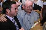 Damien English and Peter Higgins, Fine Gael, as Peter was eliminated after the 6th count at The Counting Station, Navan...Photo NEWSFILE/Jenny Matthews.(Photo credit should read Jenny Matthews/NEWSFILE)....This Picture has been sent you under the condtions enclosed by:.Newsfile Ltd..The Studio,.Millmount Abbey,.Drogheda,.Co Meath..Ireland..Tel: +353(0)41-9871240.Fax: +353(0)41-9871260.GSM: +353(0)86-2500958.email: pictures@newsfile.ie.www.newsfile.ie.FTP: 193.120.102.198.