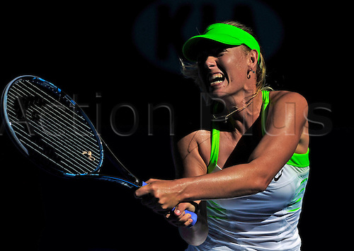 26.01.2012 Melbourne, Australia. Sharapova in action on Day 11 of the second women's semi final match. Maria Sharapova (RUS) V Petra Kvitova (CZE). Sharapova defeats Kvitova 6-2, 3-6, 6-4 on Rod Laver Arena at the Australian Open.
