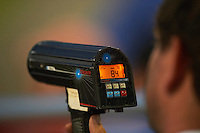 Scout using a radar gun at the Auburn Doubledays game against the Williamsport Crosscutters on June 25, 2016 at Falcon Park in Auburn, New York.  Auburn defeated Williamsport 5-4.  (Mike Janes/Four Seam Images)