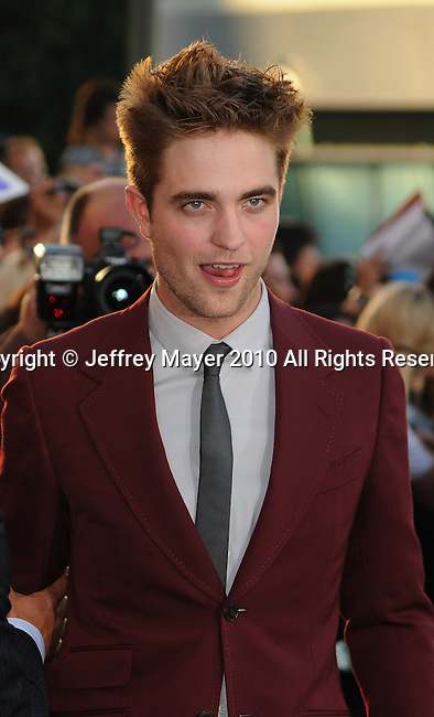 """LOS ANGELES, CA. - June 24: Robert Pattinson arrives to the premiere of """"The Twilight Saga: Eclipse"""" during the 2010 Los Angeles Film Festival at Nokia Theatre L.A. Live on June 24, 2010 in Los Angeles, California."""