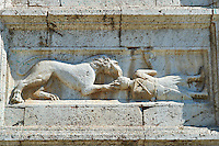 Sculptures on the 12th century Romanesque facade of the Chiesa di San Pietro extra moenia (St Peters), Spoletto, Italy
