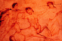 Roman Art:  Centaur Attacked--painting on marble, preparatory drawing in red lead.  National Museum, Naples.  Photo '83.