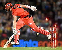 10th January 2020; Marvel Stadium, Melbourne, Victoria, Australia; Big Bash League Cricket, Melbourne Renegades versus Melbourne Stars; Shaun Marsh of the Renegades sprints back into his crease - Editorial Use