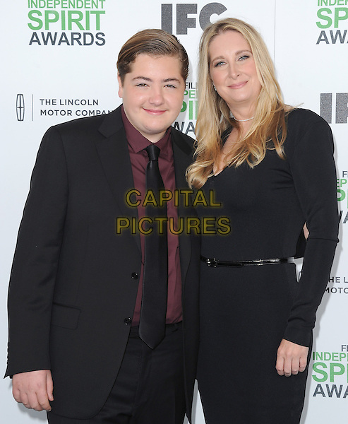 SANTA MONICA, CA, MARCH 01: Michael Gandolfini and Marcy Wudarski at The 2014 Film Independent Spirit Awards held at Santa Monica Beach in Santa Monica, California, USA on March 1st, 2014.                                                                              <br /> CAP/DVS<br /> &copy;Debbie VanStory/Capital Pictures
