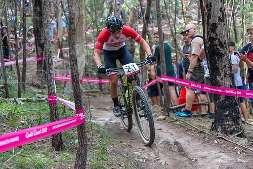 12th April 2018, Nerang Mountain Bike Trails, Gold Coast, Australia; Commonwealth Games day 8; Oliver Lowthorpe (JEY) during the Men's Cross-country Mountain Bike Race