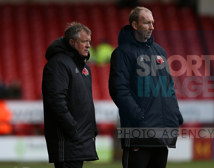 Chris Wilder manager of Sheffield Utd and Alan Knill during the Emirates FA Cup Round One match at Bramall Lane Stadium, Sheffield. Picture date: November 6th, 2016. Pic Simon Bellis/Sportimage