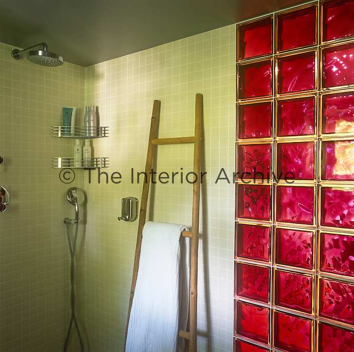 A corner of a shower in a modern green tiled bathroom with contrasting red glass brick one to one side. A wooden ladder acts as a towel rail.