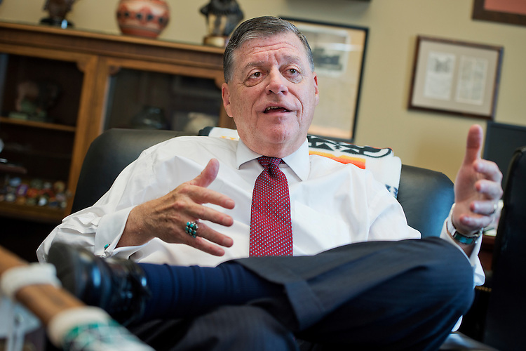 UNITED STATES - JULY 30: Rep. Tom Cole, R-Okla., is interviewed by CQ Roll Call is his Rayburn Building office, July 30, 2015. (Photo By Tom Williams/CQ Roll Call)