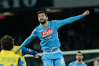 Raul Albiol  in action during the Italian Serie A soccer match between SSC Napoli and Chievo  at San Paolo stadium in Naples, January 25, 2014