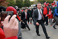 Ohio State Buckeyes head coach Urban Meyer enters the stadium before their game against the Purdue Boilermakers at Ros-Ade Stadium in West Lafayette, Indiana on October 20, 2018. [ Brooke LaValley / Dispatch ]