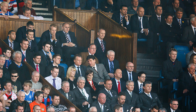 Rangers players commandeer the directors box in their absence