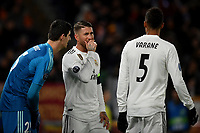 Thibaut Courtois, Sergio Ramos and Raphael Varane of Real Madrid talk during the Uefa Champions League 2018/2019 Group G football match between AS Roma and Real Madrid atOlimpico stadium , Rome, November, 27, 2018 <br />  Foto Andrea Staccioli / Insidefoto