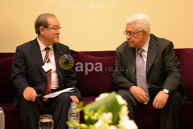 Palestinian President Mahmoud Abbas (Abu Mazen) meets with Deputy Minister in Foreign Affairs of Japan in the Dead Sea in Jordan on May 26, 2012. Photo by Thaer Ganaim
