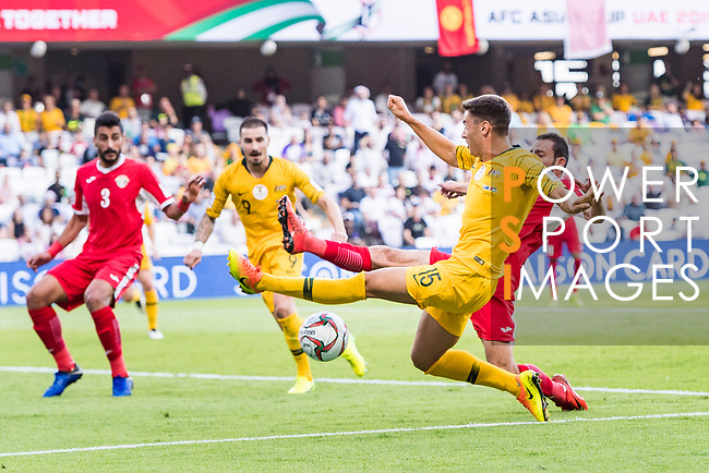 Chris Ikonomidis of Australia (L) fights for the ball with Feras Zeyad Shilbaya of Jordan (R) during the AFC Asian Cup UAE 2019 Group B match between Australia (AUS) and Jordan (JOR) at Hazza Bin Zayed Stadium on 06 January 2019 in Al Ain, United Arab Emirates. Photo by Marcio Rodrigo Machado / Power Sport Images