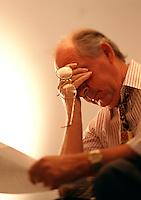Worried businessman man receives bad news.