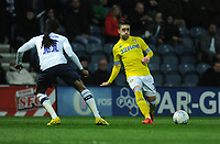 Leeds United's Pablo Hernandez under pressure from Preston North End's Daniel Johnson<br /> <br /> Photographer Kevin Barnes/CameraSport<br /> <br /> The EFL Sky Bet Championship - Preston North End v Leeds United -Tuesday 9th April 2019 - Deepdale Stadium - Preston<br /> <br /> World Copyright &copy; 2019 CameraSport. All rights reserved. 43 Linden Ave. Countesthorpe. Leicester. England. LE8 5PG - Tel: +44 (0) 116 277 4147 - admin@camerasport.com - www.camerasport.com