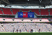 27th May 2018, Wembley Stadium, London, England;  EFL League 1 football, playoff final, Rotherham United versus Shrewsbury Town; Thousands of empty seats inside Wembley Stadium with the official attendance at 26,218 displayed from the giant screen
