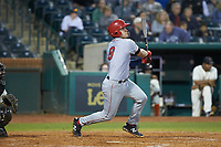 KJ Harrison (8) of the Hagerstown Suns follows through on his swing against the Greensboro Grasshoppers at First National Bank Field on April 6, 2019 in Greensboro, North Carolina. The Suns defeated the Grasshoppers 6-5. (Brian Westerholt/Four Seam Images)