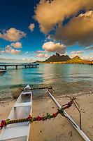 An outrigger canoe, Four Seasons Resort Bora Bora, French Polynesia.