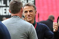 Phil Neville gets ready to hug Salford City Manager, Graham Alexander at the final whistle after winning promotion to the Football League during AFC Fylde vs Salford City, Vanarama National League Football Promotion Final at Wembley Stadium on 11th May 2019