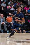 Zutorya Cook (2) of the Georgia Tech Yellow Jackets controls the ball during first half action against the Wake Forest Demon Deacons at the LJVM Coliseum on January 22, 2017 in Winston-Salem, North Carolina.  The Demon Deacons defeated the Yellow Jackets 70-65 in overtime.  (Brian Westerholt/Sports On Film)