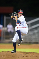 Danville Braves relief pitcher Jacob Webb (36) in action against the Burlington Royals at American Legion Post 325 Field on August 16, 2016 in Danville, Virginia.  The game was suspended due to a power outage with the Royals leading the Braves 4-1.  (Brian Westerholt/Four Seam Images)