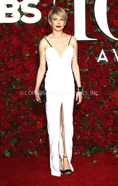 WWW.ACEPIXS.COM<br /> <br /> June 12 2016, New York City<br /> <br /> Actress Michelle Williams arriving at the 70th Annual Tony Awards at The Beacon Theatre on June 12, 2016 in New York City.<br /> <br /> By Line: Nancy Rivera/ACE Pictures<br /> <br /> <br /> ACE Pictures, Inc.<br /> tel: 646 769 0430<br /> Email: info@acepixs.com<br /> www.acepixs.com
