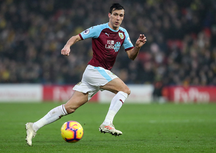 Burnley's Jack Cork <br /> <br /> Photographer Andrew Kearns/CameraSport<br /> <br /> The Premier League - Watford v Burnley - Saturday 19 January 2019 - Vicarage Road - Watford<br /> <br /> World Copyright &copy; 2019 CameraSport. All rights reserved. 43 Linden Ave. Countesthorpe. Leicester. England. LE8 5PG - Tel: +44 (0) 116 277 4147 - admin@camerasport.com - www.camerasport.com