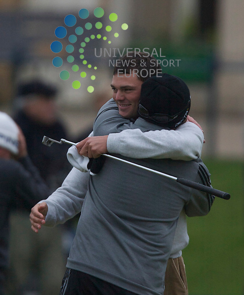 The Final Round of The Alfred Dunhill Links Championship 2010..10/10/10...  Martin Kaymer Dunhill champion  celebrates with caddy Craig Connoly  , during the Final Round of The Alfred Dunhill Links Championship.At the Old Course,  St Andrews, Fife...Picture: Mark Davison/Universal News and Sport (Scotland).10th October 2010.