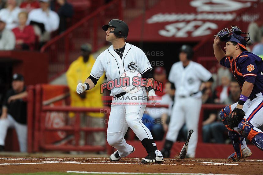 First Baseman Christian Walker #13 of the South Carolina Gamecocks swings at a pitch during a game against the South Carolina Gamecocks at Carolina Stadium on March 3, 2012 in Columbia, South Carolina. The Gamecocks defeated the Tigers 9-6. Tony Farlow/Four Seam Images