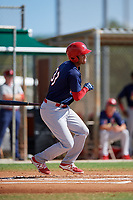 GCL Cardinals right fielder Jhon Torres (33) follows through on a swing during a game against the GCL Marlins on August 4, 2018 at Roger Dean Chevrolet Stadium in Jupiter, Florida.  GCL Marlins defeated GCL Cardinals 6-3.  (Mike Janes/Four Seam Images)