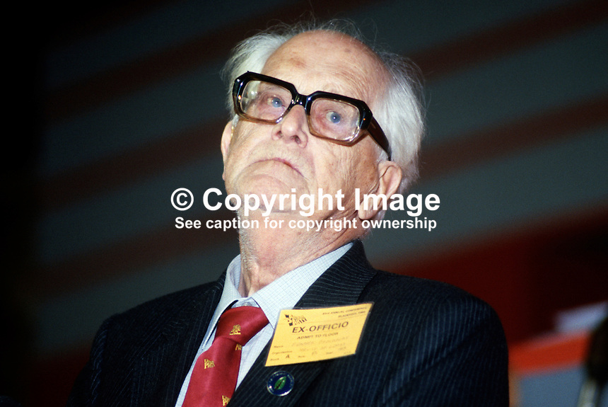 Lord Fenner Brockway, Life Peer, Labour Party, UK, 19840126FB1..Copyright Image from Victor Patterson, 54 Dorchester Park, Belfast, UK, BT9 6RJ..Tel: +44 28 9066 1296.Mob: +44 7802 353836.Voicemail +44 20 8816 7153.Skype: victorpattersonbelfast.Email: victorpatterson@me.com.Email: victorpatterson@ireland.com (back-up)..IMPORTANT: If you wish to use this image or any other of my images please go to www.victorpatterson.com and click on the Terms & Conditions. Then contact me by email or phone with the reference number(s) of the image(s) concerned.