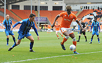 Blackpool's Armand Gnanduillet under pressure from Gillingham's Darren Oldaker<br /> <br /> Photographer Kevin Barnes/CameraSport<br /> <br /> The EFL Sky Bet League One - Blackpool v Gillingham - Saturday 4th May 2019 - Bloomfield Road - Blackpool<br /> <br /> World Copyright © 2019 CameraSport. All rights reserved. 43 Linden Ave. Countesthorpe. Leicester. England. LE8 5PG - Tel: +44 (0) 116 277 4147 - admin@camerasport.com - www.camerasport.com