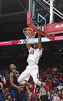NWA Democrat Gazette/SPENCER TIREY  <br /> Razorback Daniel Gafford (10) dunks the ball in the first half against Samford Friday Nov. 10, 2017 at Bud Walton Arena.