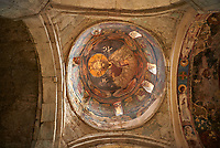picture &amp; image of a Christ Pantocrator fresco on the inteior of the cupola, Samtavisi Georgian Orthodox Cathedral, 17th century, Shida Karti Region, Georgia (country)<br /> <br /> Built during the so called 10-11th century &ldquo;Georgian Golden Era&rdquo; Samtavisi cathedral is a built in classical Georgian style of the period. Layout on a cruciform ground plan with a high central cylindrical central cupola.
