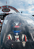 Sep 1, 2019; Clermont, IN, USA; NHRA top fuel driver Steve Torrence during qualifying for the US Nationals at Lucas Oil Raceway. Mandatory Credit: Mark J. Rebilas-USA TODAY Sports