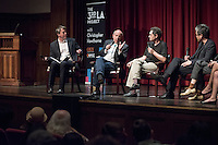 """From left, Occidental College professor Christopher Hawthorne hosts """"A Debate over the new LACMA"""", a discussion featuring, architect, author and advocate for twentieth-century architectural preservation Alan Hess, architecture critic Greg Goldin, architect Mark Lee, architect Sharon Johnston and Los Angeles Times art and architecture writer Carolina Miranda. The panel discussion talked about the controversial plan by Swiss architect Peter Zumthor to remake the museum campus. March 25, 2015 in Thorne Hall.<br /> (Photo by Marc Campos, Occidental College Photographer)"""